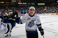 KELOWNA, BC - NOVEMBER 6:  Mitch Prowse #5 of the Victoria Royals celebrates a second period goal against the Kelowna Rockets at Prospera Place on November 6, 2019 in Kelowna, Canada. (Photo by Marissa Baecker/Shoot the Breeze)