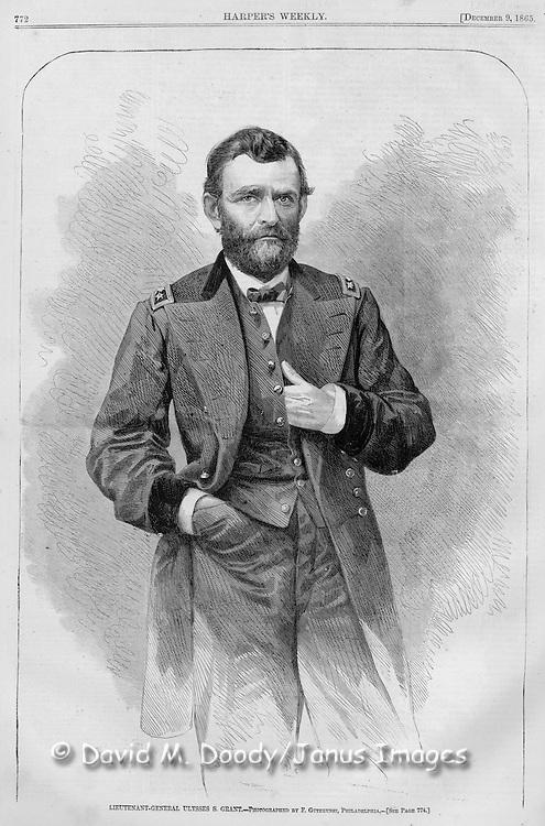 Vintage Illustration: Civil War Harper's Weekly December 9, 1865 General US Grant in 1865....