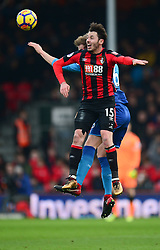Adam Smith of Bournemouth wins a header. - Mandatory by-line: Alex James/JMP - 14/01/2018 - FOOTBALL - Vitality Stadium - Bournemouth, England - Bournemouth v Arsenal - Premier League