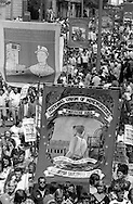Allerton Silkstone and Glasshoughton banners, 1984 Yorkshire Miner's Gala. Wakefield.