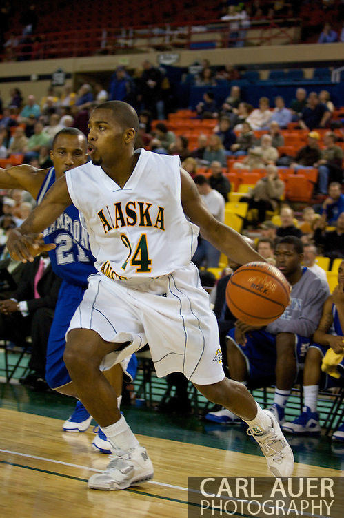 November 26, 2008: University of Alaska-Anchorage guard Kenny Barker (24) drives baseline from the corner in the first half against Hampton in the opening game of the 2008 Great Alaska Shootout at the Sullivan Arena.