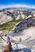 Climbers on the Northwest Buttress of Tenaya Peak, Tuolumne Meadows area, Yosemite National Park, California