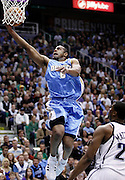 Denver Nuggets guard Arron Afflalo (6) scores against Utah Jazz guard Wesley Matthews, right, during the first half of Game 6 of the NBA Western Conference first-round playoff series in Salt Lake City, Friday, April 30, 2010. (AP Photo/Colin E Braley)
