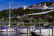 FORT MACKINAC OVERLOOKS THE MARINA ON MACKINAC ISLAND, MICHIGAN.