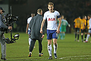 Tottenham Hotspur Harry Kane (10) leaves the pitch after the 1-1 draw during the The FA Cup 4th round match between Newport County and Tottenham Hotspur at Rodney Parade, Newport, Wales on 27 January 2018. Photo by Gary Learmonth.