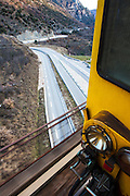 Route Nationale 116 and the Pont Déjourne. The Traine Jaune, Yellow Train, Canari, or Ligne de Cerdagne, is a 63km long railway from Villefranche-de-Conflent to Latour-de-Carol, rising from 427m to 1,593m at Bolquère-Eyne, the highest railway station in France. In early 2015 the future of the line was uncertain, with SNCF and the French government considering either to close the line, or to privatise it for tourism use.