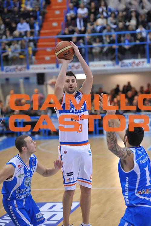 DESCRIZIONE : Brindisi Lega A 2012-13 Enel Brindisi Banco di Sardegna Sassari<br /> GIOCATORE : Klaudio Ndoja<br /> CATEGORIA : Tiro<br /> SQUADRA : Enel Brindisi<br /> EVENTO : Campionato Lega A 2012-2013 <br /> GARA : Enel Brindisi Banco di Sardegna Sassari<br /> DATA : 03/03/2013<br /> SPORT : Pallacanestro <br /> AUTORE : Agenzia Ciamillo-Castoria/V.Tasco<br /> Galleria : Lega Basket A 2012-2013  <br /> Fotonotizia : Brindisi Lega A 2012-13 Enel Brindisi Banco di Sardegna Sassari