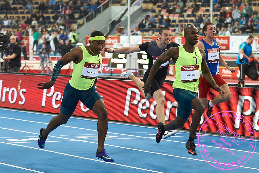 (R) Kim Collins from Saint Kitts and Nevis and (L) Mike Rodgers from USA compete in men's 60 meters final during athletics meeting Pedro's Cup at Atlas Arena in Lodz, Poland.<br /> <br /> Poland, Lodz, February 17, 2015<br /> <br /> Picture also available in RAW (NEF) or TIFF format on special request.<br /> <br /> For editorial use only. Any commercial or promotional use requires permission.<br /> <br /> Adam Nurkiewicz declares that he has no rights to the image of people at the photographs of his authorship.<br /> <br /> Mandatory credit:<br /> Photo by &copy; Adam Nurkiewicz / Mediasport