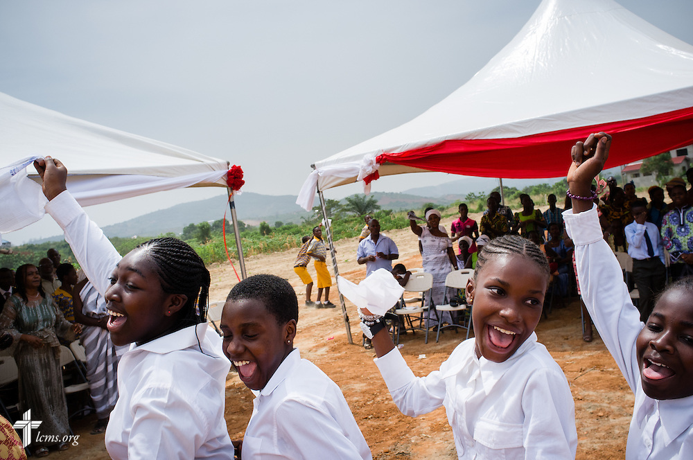 Young members dance during the offering at the service and dedication of the Lutheran Theological Seminary of the Evangelical Lutheran Church of Ghana on Sunday, Feb. 2, 2014, in Greater Accra, Ghana. LCMS Communications/Erik M. Lunsford