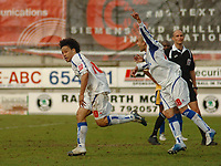 Photo: Leigh Quinnell.<br /> Mansfield Town v Carlisle United. Coca Cola League 2. 22/04/2006. Carlises Karl Hawley runs to celebrate his goal that takes them to league 1.