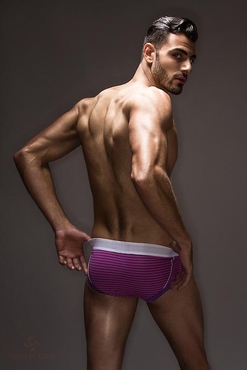 Alex Garibyan in the Golden Boy look wearing purple James Tudor underwear