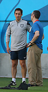 Coach Gary Neville looks on during the England open training session at Arena da Amazonia, Manaus, Brazil. <br />