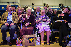 Ukip supporters do some knitting while attending the annual Ukip conference in Bournemouth.