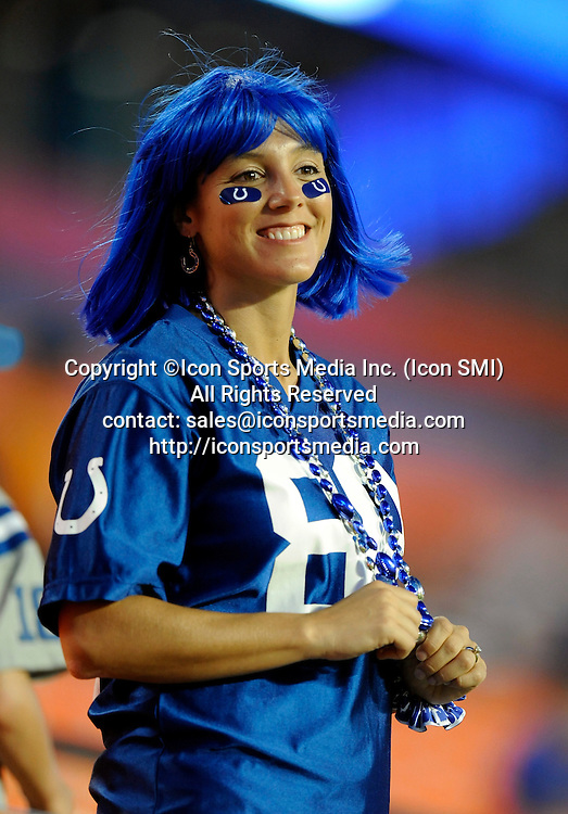 21 September 2009: An Indianapolis Colts fan in the stands prior to the start of their game against the Miami Dolphins at Land Shark Stadium in Miami, Florida.