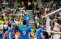 Tine Urnaut #17 of Slovenia vs Benjamin Toniutti #6 of France  during volleyball match between National teams of Slovenia and France at Final match of 2015 CEV Volleyball European Championship - Men, on October 18, 2015 in Arena Armeec, Sofia, Bulgaria. Photo by Vid Ponikvar / Sportida