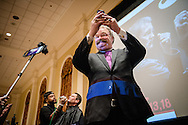 "The Rev. Dr. Matthew C. Harrison, president of The Lutheran Church–Missouri Synod, takes a selfie as the Rev. Terry R. Forke, president of Montana District, receives a shave during ""the Great Mustache Shave Off"" at the Liberty National LCMS Campus Ministry Conference on Wednesday, Jan. 4, 2017, at the University of Maryland in College Park, Md. LCMS Communications/Erik M. Lunsford"