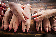 08 JANUARY 2007 - MANAGUA, NICARAGUA:  Pigs' feet for sale in Mercado Oriental, the main market that serves Managua, Nicaragua. The market encompasses dozens of square blocks and is the largest market in Central America.  Photo by Jack Kurtz