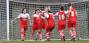 Charlton celebrate taking the lead during the Women's FA Cup match between Charlton Athletic WFC and Crystal Palace LFC at Sporting Club Thamesmead, Thamesmead, United Kingdom on 8 March 2015. Photo by Michael Hulf.