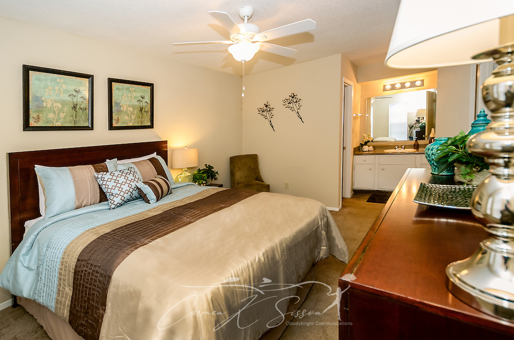 A furnished bedroom is shown at Robinwood Apartments, June 11, 2015, in Mobile, Alabama. The one-bedroom apartments, located on Old Shell Road, are managed by Sealy Realty. (Photo by Carmen K. Sisson/Cloudybright)
