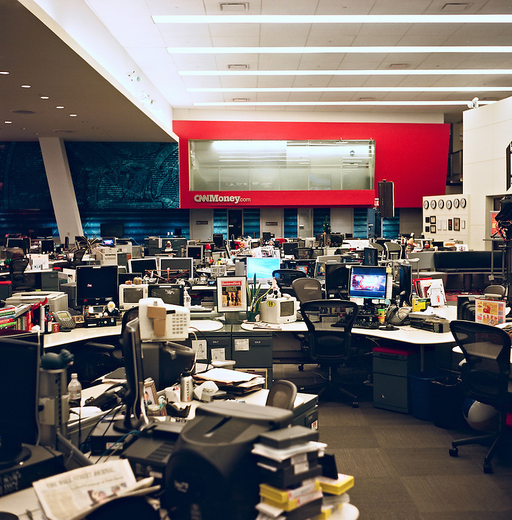 CNN's fifth floor newsroom at Time Warner Center, New York, empty during holiday season 2009