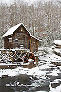 67395-04112 Glade Creek Grist Mill in winter, Babcock State Park, WV