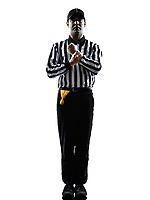 american football referee gestures holding in silhouette on white background