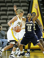 28 NOVEMBER 2007: Iowa forward Johanna Solverson (34) defended by Georgia Tech forward Alex Montgomery (22) in the second half of Georgia Tech's 76-57 win over Iowa in the Big Ten/ACC Challenge at Carver-Hawkeye Arena in Iowa City, Iowa on November 28, 2007.