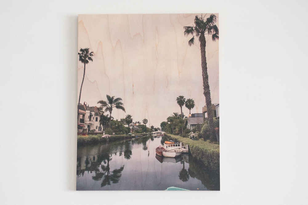 'April at the Venice Canals' Printed on Maple Wood.