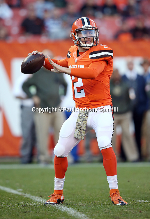 Cleveland Browns quarterback Johnny Manziel (2) throws a pass in the fourth quarter during the 2015 week 8 regular season NFL football game against the Arizona Cardinals on Sunday, Nov. 1, 2015 in Cleveland. The Cardinals won the game 34-20. (©Paul Anthony Spinelli)