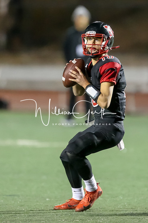 (Photograph by Bill Gerth for SVCN) Westmont #10 Johnnie Phillips vs Homestead  in a CCS Division 4 Semifinal Football Game at Westmont High School, Campbell CA on 11/18/16.  (Westmont 48 Homestead 27)