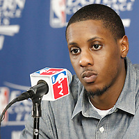 03 June 2012: Miami Heat point guard Mario Chalmers (15) listens to journalists during the press conference following Boston Celtics 93-91 overtime victory over the Miami Heat, in Game 4 of the Eastern Conference Finals playoff series, at the TD Banknorth Garden, Boston, Massachusetts, USA.