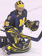 Michigan goaltender Bryan Hogan blocks a shot with his stick hand during the second period of the Wolverines Friday night game against the LSSU Lakers at Taffy Abel Arena in Sault Ste. Marie.