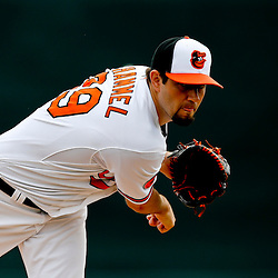Mar 1, 2013; Sarasota, FL, USA; Baltimore Orioles starting pitcher Jason Hammel (39) throws against the Pittsburgh Pirates during the top of the first inning of a spring training game at Ed Smith Stadium. Mandatory Credit: Derick E. Hingle-USA TODAY Sports