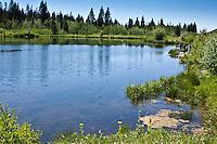 Fishing at Jumbo Lake at the Mesa Lakes Area on the Grand Mesa, Colorado.