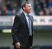Southend Manager Phil Brown shouts instructions from the touchline during the Sky Bet League 1 match between Southend United and Peterborough United at Roots Hall, Southend, England on 5 September 2015. Photo by Bennett Dean.