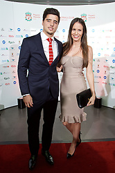 LIVERPOOL, ENGLAND - Tuesday, May 19, 2015: Liverpool's 'Suso' Jesus Joaquin Fernandez Saenz De La Torre arrive on the red carpet with his girlfriend for the Liverpool FC Players' Awards Dinner 2015 at the Liverpool Arena. (Pic by David Rawcliffe/Propaganda)