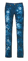 Blue tie dye jeans on white background