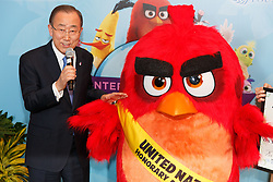 """United Nations Secretary-General Ban Ki-moon appoints """"Red"""" from the Angry Birds movie as Honorary Ambassador for Green during the """"Angry Birds for a Happy Planet"""" campaign, at the UN headquarters in New York, March 18, 2016. UN Secretary-General Ban Ki-moon appointed Red from the Angry Birds as Honorary Ambassador for Green on the International Day of Happiness and encouraged young people to take action on climate change and make the Angry Birds happy. EXPA Pictures © 2016, PhotoCredit: EXPA/ Photoshot/ Li Muzi<br /> <br /> *****ATTENTION - for AUT, SLO, CRO, SRB, BIH, MAZ, SUI only*****"""
