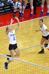 23 November 2017:  Sara Jensen sets the ball in front of Kyla Inderski during a college women's volleyball match between the Drake Bulldogs and the Indiana State Sycamores in the Missouri Valley Conference Tournament at Redbird Arena in Normal IL (Photo by Alan Look)