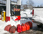 Many residents stocked up on extra gasoline in Batavia, New York, USA on Wednesday, November 19, 2014. Up to six feet of snow fell on the region Tuesday, stranding dozens of motorists on roadways and causing at least six deaths.