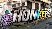 Hong Kong Street art. Honkers  by 45rpm and Voyder for HKWalls2018 on the alley between 184  and 180-182 Hollywood Road Central. 4th September 2018. 20180904