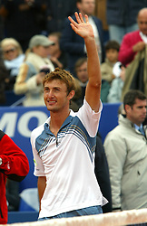 MONTE-CARLO, MONACO - Sunday, April 20, 2003: Juan Carlos Ferrero (Spain) celebrates winning the Tennis Masters Monte-Carlo after beating Guillermo Coria (Argentina) 6-2, 6-2 in the final of the Tennis Masters Monte-Carlo. (Pic by David Rawcliffe/Propaganda)