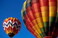 Hot air balloons float in the sky at the Shenandoah Valley Hot Air Balloon & Wine Festival, Millwood, Virginia.