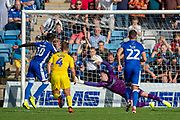 Gillingham FC forward Mikael Ndjoli  (10) scores from a penalty (2-0) during the EFL Sky Bet League 1 match between Gillingham and Wycombe Wanderers at the MEMS Priestfield Stadium, Gillingham, England on 14 September 2019.