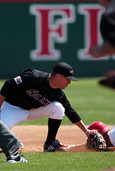 18 April 2010: Michael Stalter puts the tag on Chad Hinshaw who is attempting to slide into 2nd base.  Southern Illinois Salukis and the Illinois State Redbirds face off on Duffy Bass Field on the campus of Illinois State University in Normal Illinois.