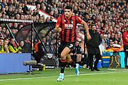 Dominic Solanke (9) of AFC Bournemouth chases a ball forward during the Premier League match between Bournemouth and Norwich City at the Vitality Stadium, Bournemouth, England on 19 October 2019.