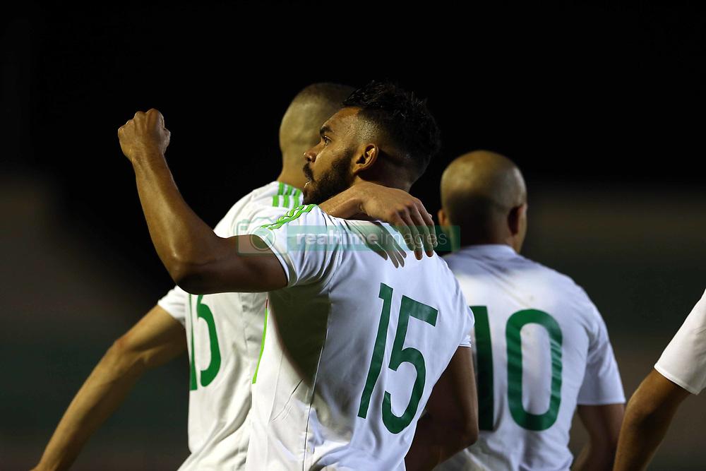 June 7, 2017 - Blida, Algiers, Algeria - Soudani Hillal El Arabi of Algeria celebrates a goal during Friendly Match Algeria v Guinea at the Mustapha Tchaker Stadium in Blida, Algeria, on 6 June 2017. (Credit Image: © Billal Bensalem/NurPhoto via ZUMA Press)