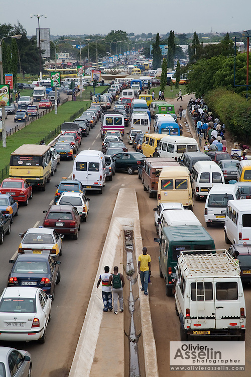 Heavy traffic, congestion, jam, near Kwame Nkrumah circle in Accra
