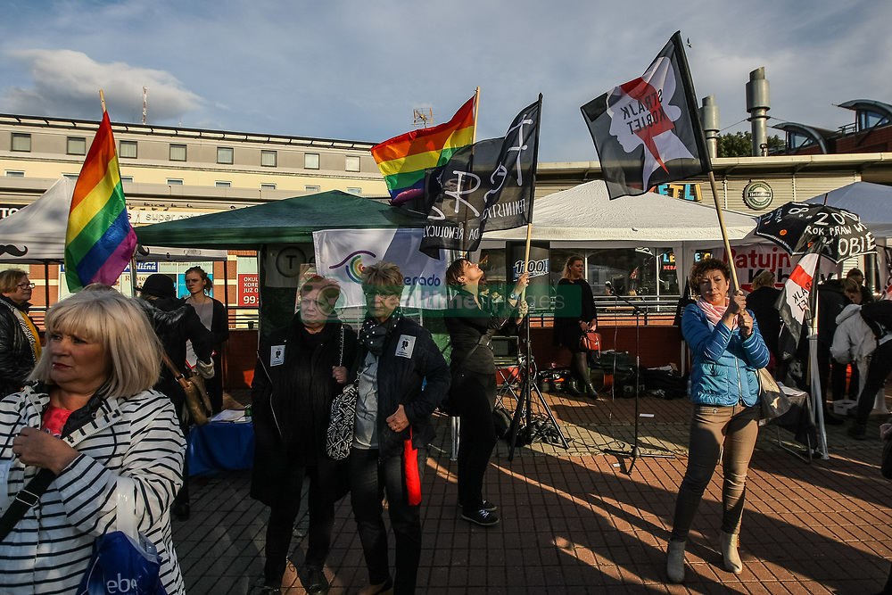 October 3, 2017 - Gdansk, Poland - Protesters are seen in Gdansk, Poland on 3 October 2017 Demonstration, organized by the group Ratujmy Kobiety (Save Women), aims to show ruling party PiS , that  the women's rights movement remains alive and strong and will continue to oppose plans to totally ban abortion in Poland. (Credit Image: © Michal Fludra/NurPhoto via ZUMA Press)
