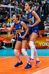 20-10-2018 JPN: Final World Championship Volleyball Women day 21, Yokohama<br /> Serbia - Italy 3-2 / Carlotta Cambi #3 of Italy, Anna Danesi #11 of Italy